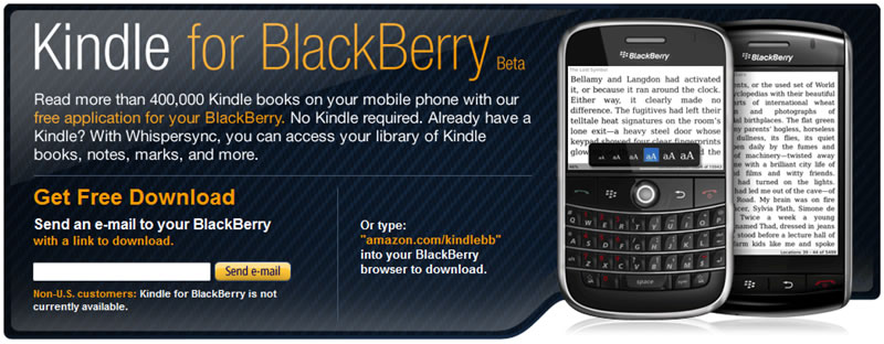 Kindle for BlackBerry available
